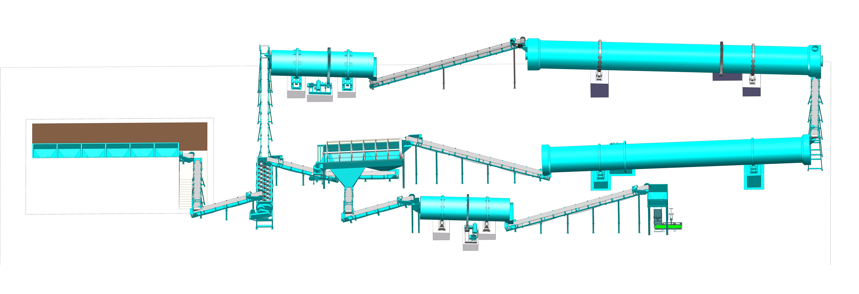 wet drum granulation line for compound fertilizer granules production